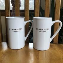 "Starbucks Coffee Mugs White Brown 5"" Tall 10 oz 2003 Microwave Safe Set ... - $24.75"