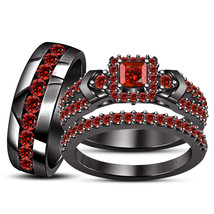 Womens Engagement Ring And His Her Wedding Band Trio Ring Set 925 Solid ... - $167.99