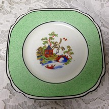 Vintage, Rare, Empire Ware, England, Green Trim Gaudy Blue Willow, 5in Plate - $21.80