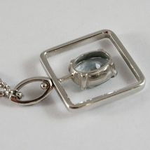 18K WHITE GOLD NECKLACE, OVAL CUT AQUAMARINE 1.80 ct PENDANT WITH SQUARE FRAME image 5