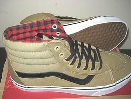 09c2f35d8e Vans Sk8-Hi Reissue Mens Twill Gingham Cornstalk Flannel Skate shoes Siz.
