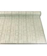 Slub Effect Silver Cream Embroidered Striped Fabric Material *2 Sizes* - $8.34+