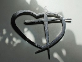 "Heart & Cross Silver X Large 40"" Wide Hanging Metal Wall Art Decor - $158.39"