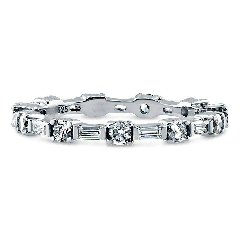 ZirconZ Sterling Silver CZ Anniversary Stackable Eternity Band Ring 1.25 Carat - $49.99