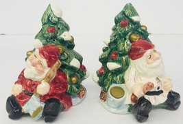 Wood Carved Santa Fitz & Floyd Ceramic Salt Pepper Shakers 1995 Christma... - $22.63
