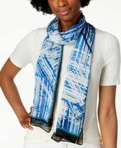 Calvin Klein Abstract Silk Chiffon Scarf (Aqua) - $959,25 MXN