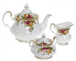 ROYAL ALBERT OLD COUNTRY ROSES 3 Pc TEA SET TEA POT CREAMER SUGAR NEW IN... - $140.24