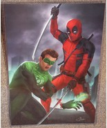 Deadpool vs Green Lantern Glossy Art Print 11 x 17 In Hard Plastic Sleeve - $24.99