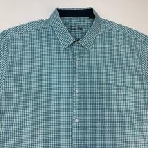 Tasso Elba Button Up Shirt Mens 2XL XXL Blue White Short Sleeve Houndstooth - $18.95