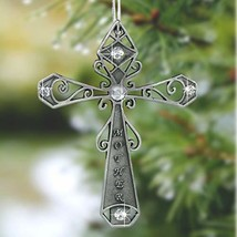 BANBERRY DESIGNS Mom Cross Christmas Ornament - Pewter Cross with Mother... - $14.49