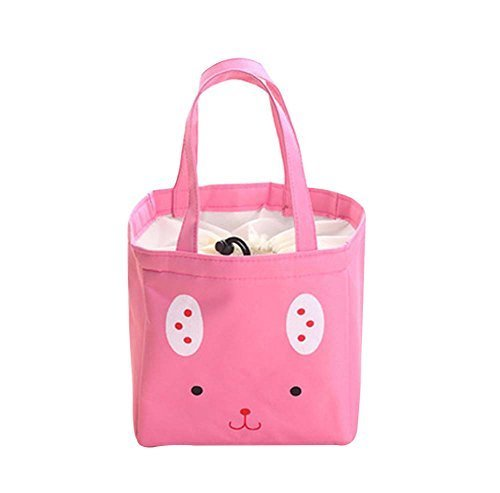 2Pcs WaterProof Large Capacity Lunch Bag For Children,Heat Retaining,Pink