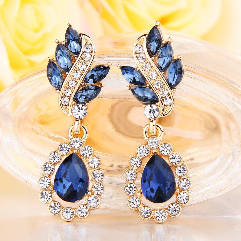 EleQueen Women's Austrian Crystal Art Deco Tear Drop Dangle Clip-on Earrings