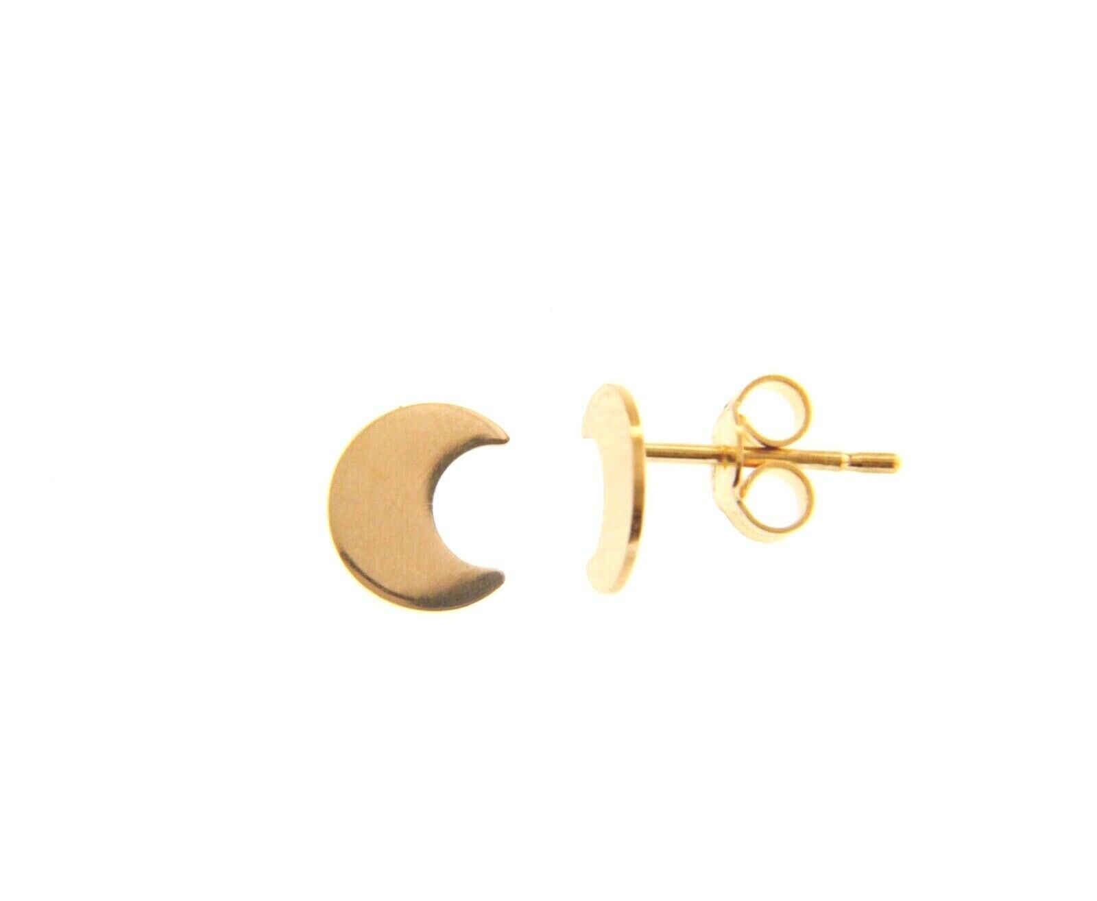 18K YELLOW GOLD EARRINGS SMALL FLAT MOON, SHINY, SMOOTH, 5mm, MADE IN ITALY