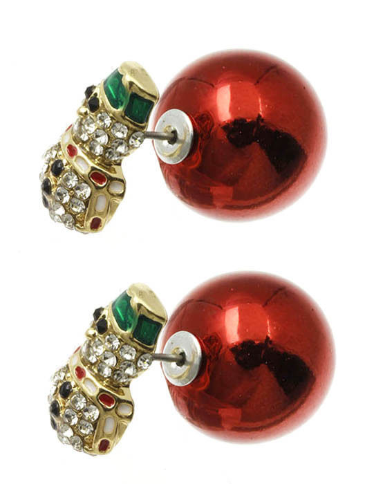 Bling Crystals Snowman Christmas Double Sided Ball Earrings Red