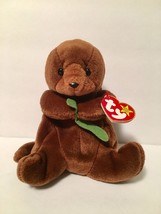 Ty Beanie Babies Plush Beanbag Seaweed the Otter Brown Green - $7.78