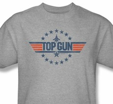 Top Gun T-shirt 1980s classic movie retro distressed heather grey tee PAR486 image 1