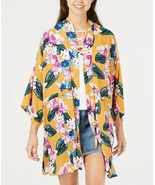 Say What? Juniors' Floral-Printed Tie-Front Kimono Cover Up Top, Gold Fl... - $7.39