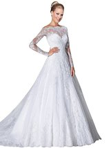 A-Line Lace White Wedding Dresses Long Sleeves,Wedding Gown,Bridal Dress... - $199.00