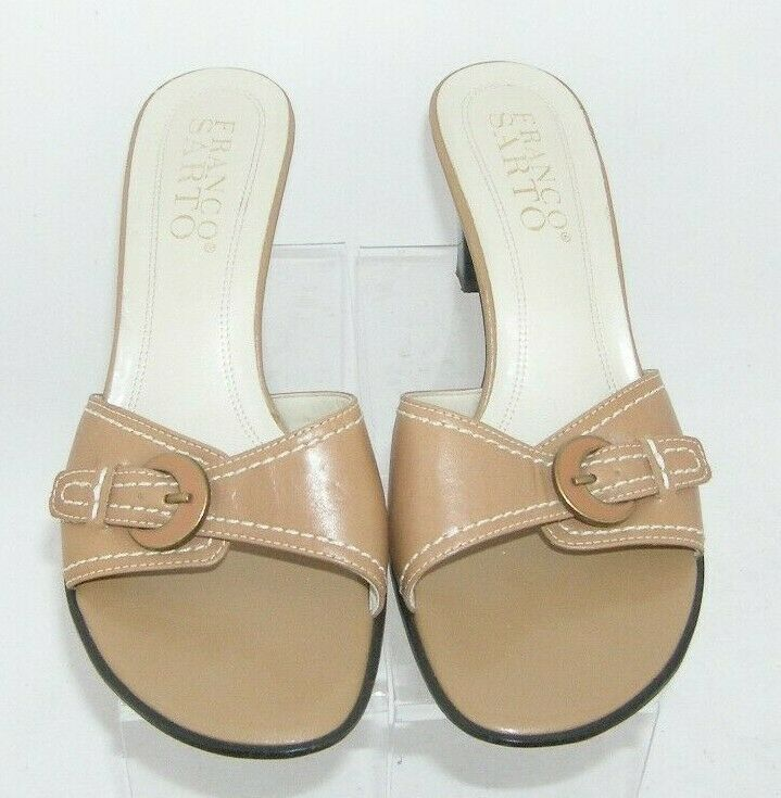 Franco Sarto brown leather buckle slip on slide mule sandal heels 7.5M 7627 image 10