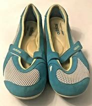 Adidas Women's Turquoise Suede Ivory Mesh Sport Mary Jane Size 9 EUC - $30.42