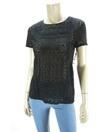 JOHN PAUL RICHARD Black Cotton Blend Short Sleeve Crochet Knit Top NWT XS - $6.72