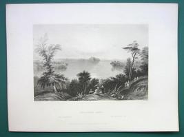 SARATOGA LAKE & AD for Clarendon Hotel New York City - 1855 Antique Print - $16.20