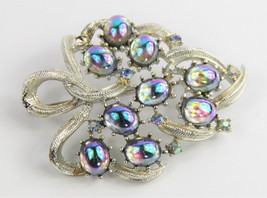 Estate Vintage Jewelry Signed Coro Mirror Glass Cabochon Rhinestone Leaf Brooch - $55.00