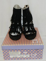 BF Betani Shiloh 8 Black Fringe Wedge Heel Sandals Size 6 And Half image 1