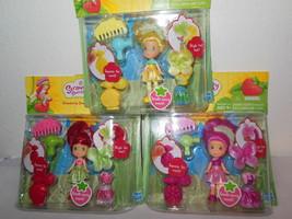 "NIP Strawberry Shortcake Raspberry Torte & Lemon Meringue Mini 3"" Dolls LOT - $49.99"