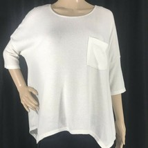Soft Sexy Plush White Top Boxy Stretch Oversized Pocket Asymmetrical Com... - $19.34