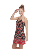 Juniors' Trixxi Bow-Front Black/Red Floral Spaghetti Strap Summer Dress ... - $11.52