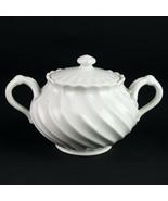 Haviland Limoges Torse Covered Sugar Bowl, Vintage France All White Swir... - $63.70