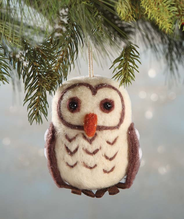 Wool Felted Owl Ornament by Bethany Lowe