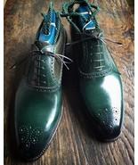 Handmade men's Green Color Leather Shoes, Men Lace up Designer dress For... - $159.97+