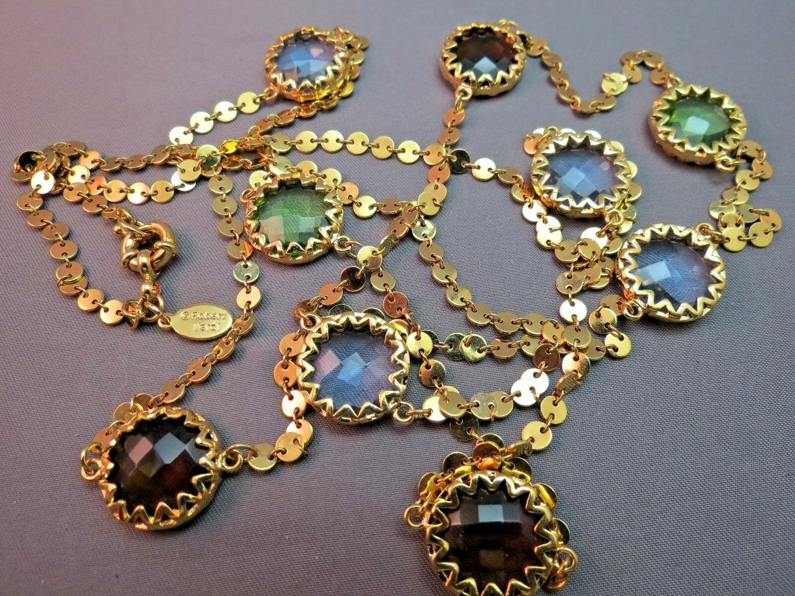 "Robert Verdi Bezel Set Crystal Necklace Gold Plated Links 46"" Cushion Desiger"
