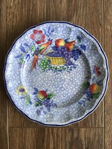 "Antique Copeland Spodes George Iii Blue Salad Plate Bird & Basket 7 5/8"" England - $59.39"