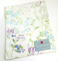 American Greetings Vintage Sheet Gift Wrapping Paper Happy Birthday Purp... - $8.95