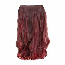 """One-piece Two Tone Clip-on Hairpieces 5 Clips 20"""" - Brown/Wine Red - $14.89"""