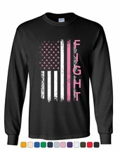 Fight Breast Cancer Long Sleeve Tee Pink Ribbon Awareness - $10.20+