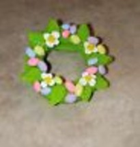 Cute Easter Egg Wreath Pin Clay Holiday Egg Pastel Wreath Brooch Pin Easter - $6.50