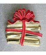 """AJC Festive Christmas Present Brooch   1960s vintage 2""""      - $14.95"""