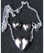 Avon Valentine jewelry set silver heart necklace and stud earrings - $7.50