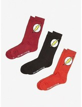 Sealed Set of 3 DC COMICS The Flash Logo Crew Socks shoe sz 8-12 - $19.79
