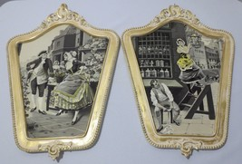 Pair VTG ANTIQUE FRENCH TAPESTRY EMBROIDERY  Framed Wall Art Lamplighter... - $250.00
