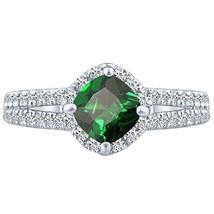 Cushion cr Emerald & Round Diamond 3.20 tcw Split Shank Unique Ring 14k ... - £360.15 GBP
