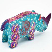 Handmade Alebrijes Oaxacan Wood Carved Painted Folk Art Rhino Rhinoceros Figure image 4