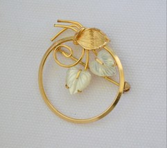 Vintage signed Creed circle brooch carved mother of pearl leaf gold-fill... - $25.73
