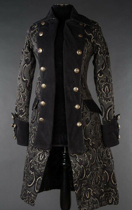 Primary image for Black Brocade Goth Victorian Steampunk Officer Jacket Long Pirate Princess Coat