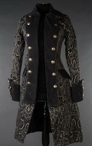 Black Brocade Goth Victorian Steampunk Officer Jacket Long Pirate Prince... - $119.99