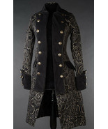 Black Brocade Goth Victorian Steampunk Officer Jacket Short Pirate Princ... - $96.38